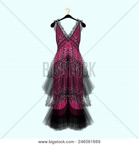 Fancy Dress With Rhinestones. Celebrity Dress.luxury Dress. Fashion Vector Illustration