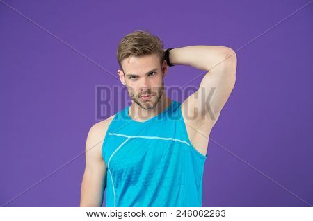 Workout is over. Man in sporty outfit finished daily training. How to avoid the biggest workout mistakes. Secret of effective daily workouts. Guy confident face just finished exercise. poster