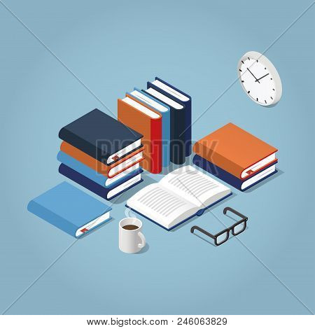 Vector Isometric Reading Books Illustration. Open Book Surrounded With Stacks Of Different Books, Re