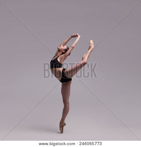 Beautiful Woman Ballet Dancer In Black Swimsuit Posing On Pointes Isolated Light Grey Studio Backgro