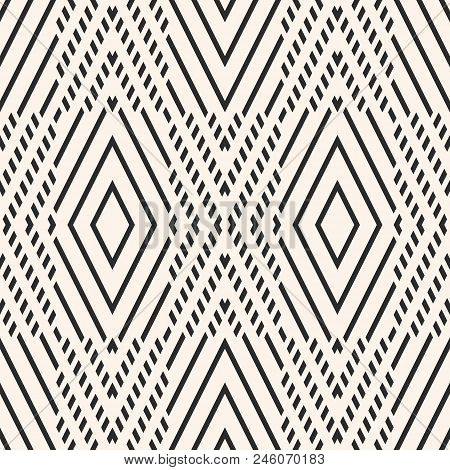 Vector Geometric Seamless Pattern. Abstract Graphic Ornament With Rhombuses, Diagonal Lines. Ethnic