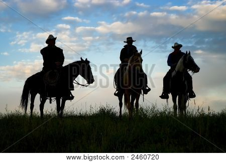Cowboys Back Lit By Early Dawn Light