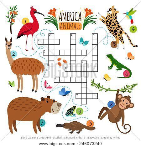 Animals Crossword Puzzle. Wild Life Animal Set Crossword Game With Herbivores And Predators Animals