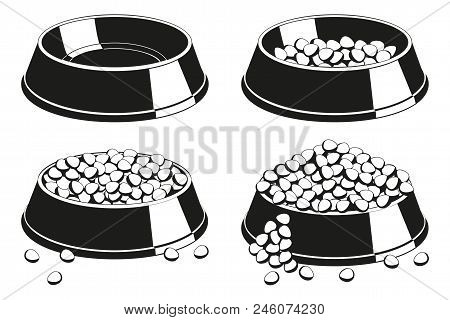 Black And White Pet Food Bowl Silhouette Set. Various Filling State From Empty To Overfilled. Cat Do