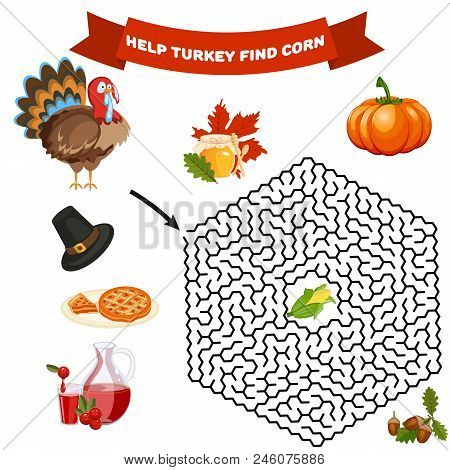 Polyhedron Maze Riddle Game, Find Way Your Path. Help Turkey Find Corn. Labyrinth Rebus For Kids Vec