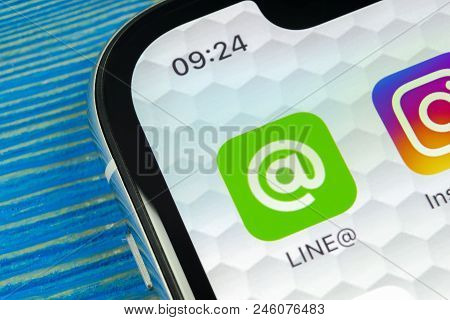 Sankt-petersburg, Russia, June 20, 2018: Line Application Icon On Apple Iphone X Screen Close-up. Li