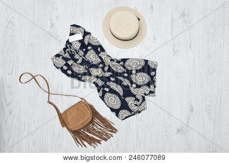 Summer Romper, Handbag And Hat. Fashionable Concept