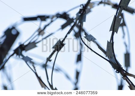 Barbed Wire Close Up And Sky In The Background.