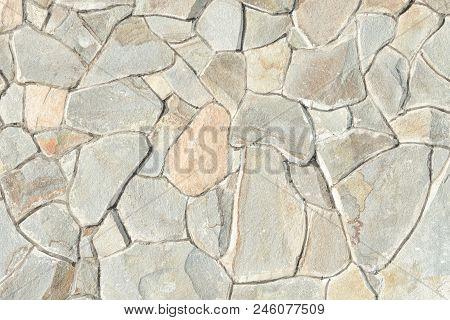 Wall Of Natural Gray Stone. Close Up