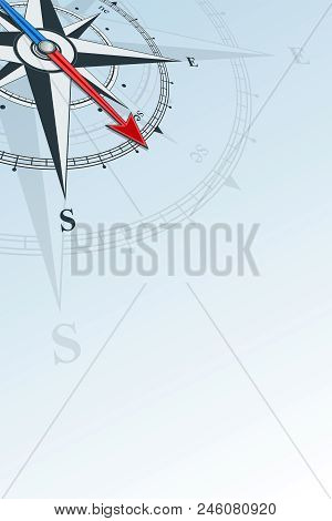 Compass Southeast Background Vector Illustration. Arrow Points To The Southeast. Compass On A Blue B