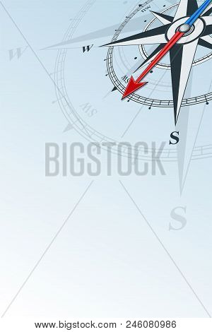 Compass Southwest Background Vector Illustration. Arrow Points To The Southwest. Compass On A Blue B