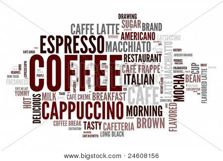 Coffee words concept in tag cloud on white background