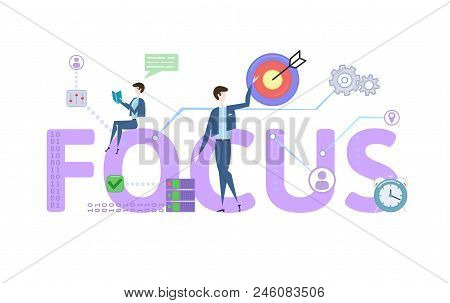Focus. Concept With Keywords, Letters And Icons. Colored Flat Vector Illustration On White Backgroun