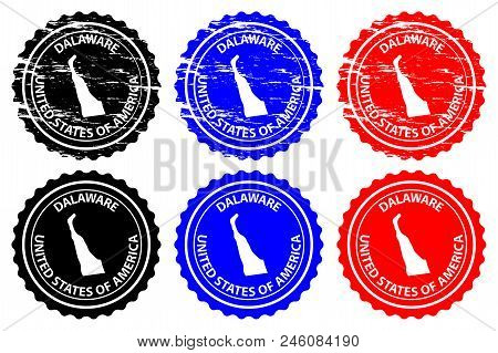 Delaware - Rubber Stamp - Vector, Delaware (united States Of America) Map Pattern - Sticker - Black,