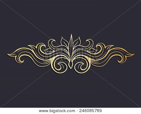 Gold Isolated Plant With Leaves Decorations. Italian Flourish Baroque Ornate For Wedding Or Christma