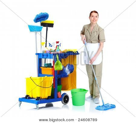 Cleaner maid woman with mop and janitor cart. Isolated on white background..