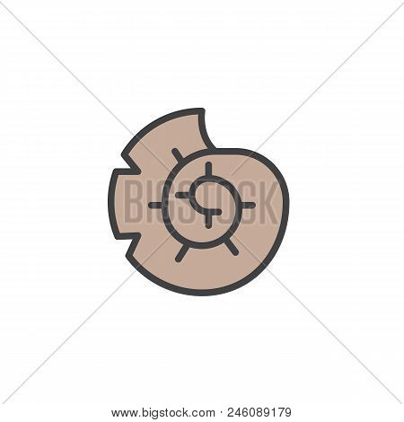 Seashell Nautilus Filled Outline Icon, Line Vector Sign, Linear Colorful Pictogram Isolated On White