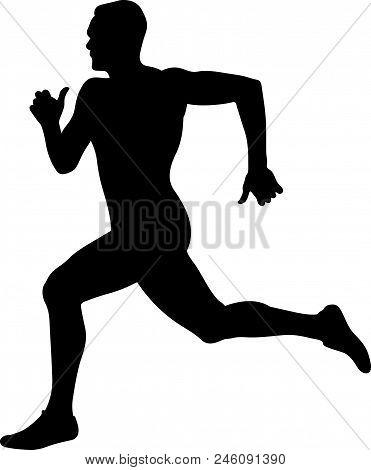 Man Runner Sprinter Black Silhouette Competition In Athletics