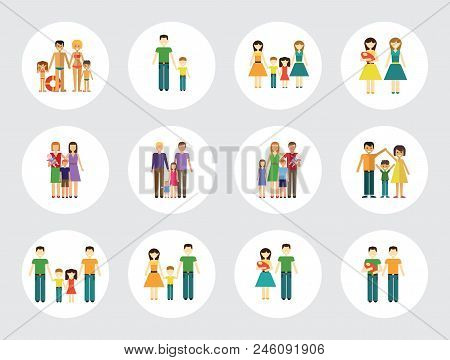 Family Icon Set. Mother And Father With Baby Man And Woman With Children Couple With Child Happy Fam