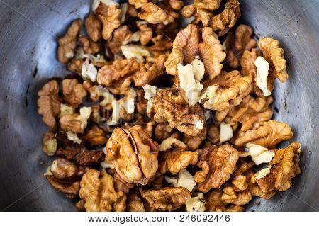 Walnuts Kernels With Color Background, Whole Walnut In A Metal Plate. Walnuts. Walnuts An Market. Ba