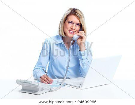 Professionele secretaris zakenvrouw bellen via de telefoon. Geïsoleerd op witte achtergrond