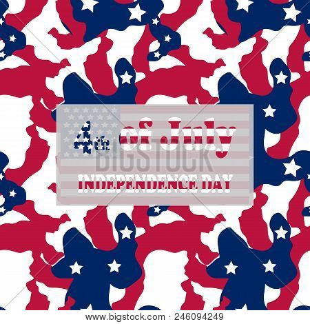Camo Background In National Usa Colors - White, Red And Navy Blue And Table With Inscription 4Th Of