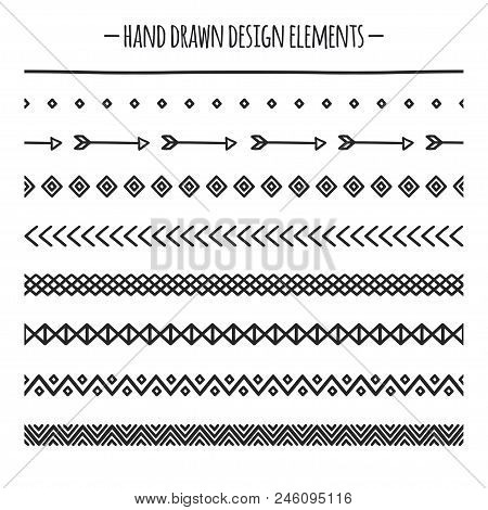 Tribal Brushes. Border. Ethnic Hand Drawn Vector Line Border Set. Design Element. Native Brushes. Az