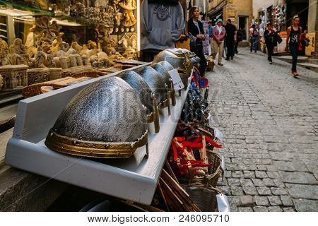 Carcassonne, France - June 14th, 2018: Touristy Medieval Looking Souvenirs At Carcassonne, A Hilltop