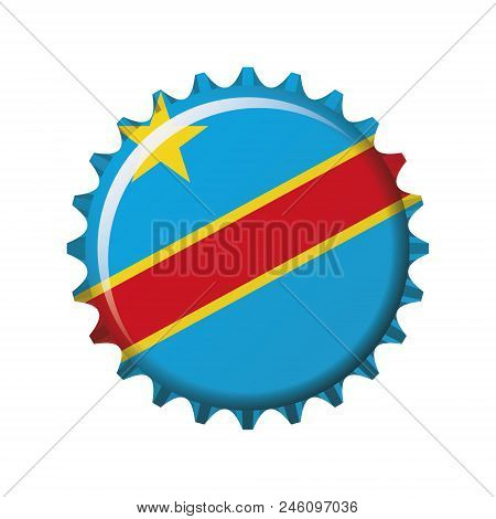 National Flag Of Democratic Republic Of Congo On A Bottle Cap. Vector Illustration