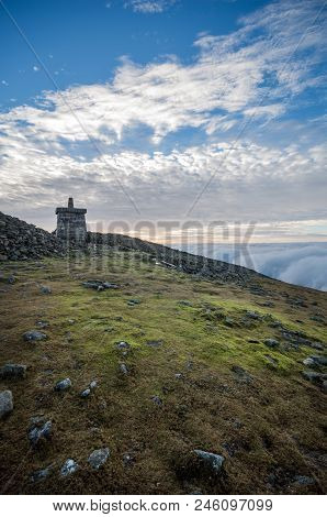 A View Of The Tower On Top Of Slieve Donard, Northern Ireland.