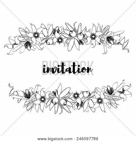 Hand Drawn Vintage Floral Banner Black And White. Stock Vector Illustration.