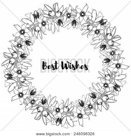 Hand Drawn Vintage Floral Round Frame. Black And White. Stock Vector Illustration.