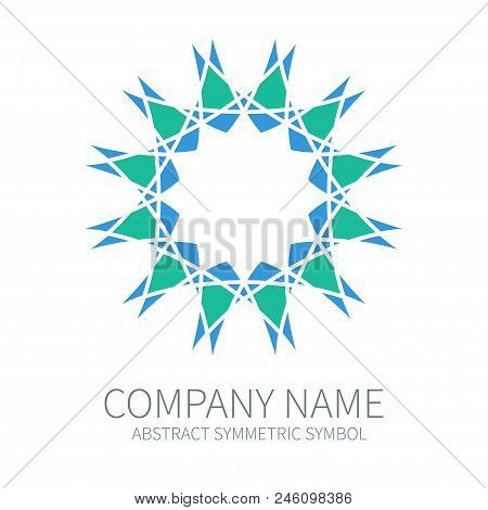 Abstract Symmetry Circle Logo. Harmony Polygon Form. Creative Signs and Symbols. Logotype Template. Green and Blue poster