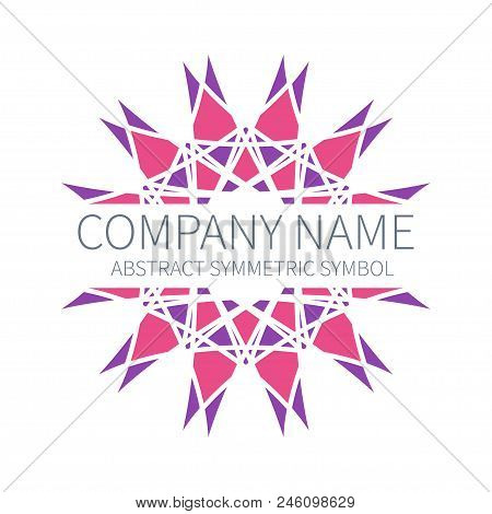 Abstract Symmetry Circle Logo. Harmony Polygon Form. Creative Signs and Symbols. Logotype Template. Pink and purple poster