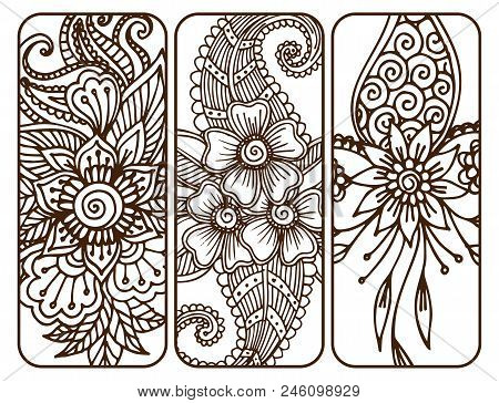Henna Tattoo Mehndi Flower Template Banner Doodle Ornamental Lace Decorative Element And Indian Desi