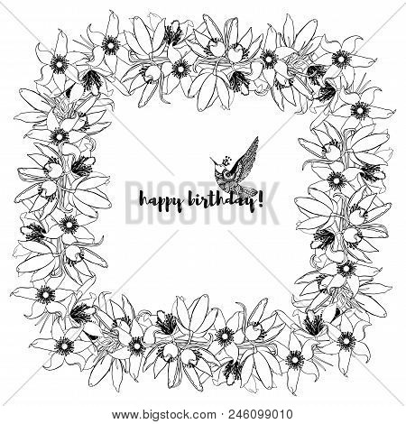 Hand Drawn Vintage Floral Square Frame. Black And White. Stock Vector Illustration.