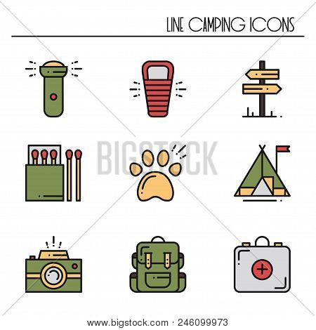 Hiking And Camping Line Icons Set. Outdoor Camp Sign And Symbol. Backpacking Adventure. Camping Stuf