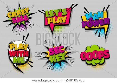 Crazy Sale Oops, Man Power Pop Set Hand Drawn Pictures Effects Template Comics Speech Bubble Halfton
