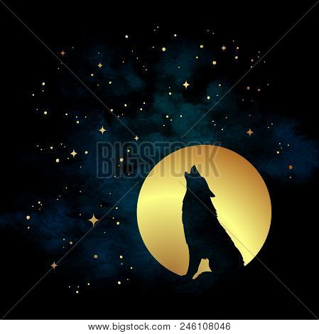 Silhouette Of Wolf Howling At The Full Moon Vector Illustration. Pagan Totem, Wiccan Familiar Spirit