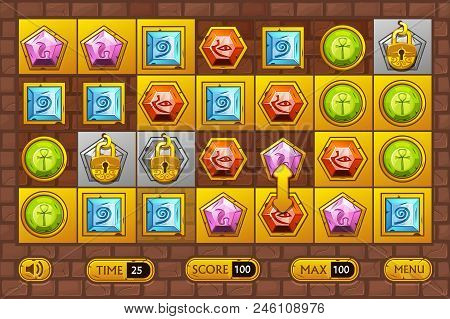 Egyptian Style Interface Match3 Games. Egypts Precious Multi-colored Stones, Game Assets Icons And G