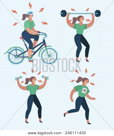 Vector Cartoon Illustration Of Hard Woman Workout. Annoyed Woman Making Perfect Body With The Differ