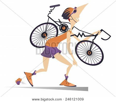 Tired Cyclist With A Broken Bike Isolated Illustration. Tired Cartoon Cyclist Man In Helmet Carries