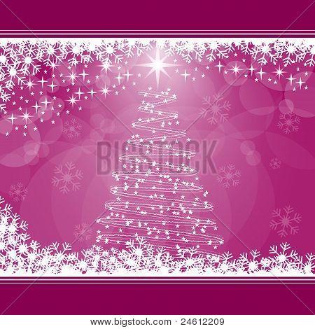 Christmas Tree On Pink
