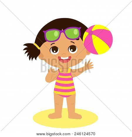 Happy Holidays. Isolated Happy Summer Girl Vector Flat Style. Cartoon Illustration Of Cute Child On