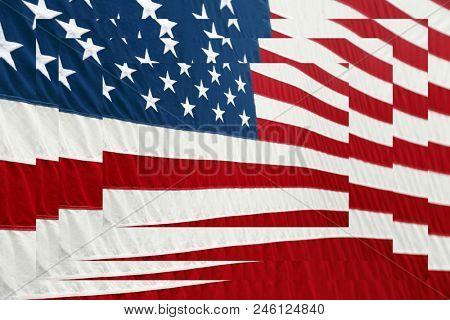 American flag. American Flag layered upon American Flag design. American flag infinity.