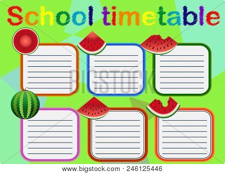 Background Frame Design Of School Timetable, Schedule, Weekly School Timetable