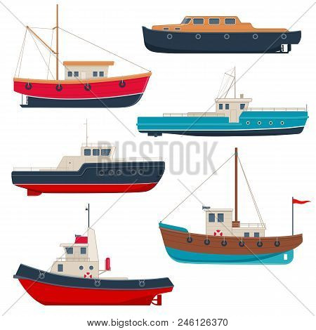 Set Of Different Boats. Working Fishing Boats, Launch Boats And Tug Boats. Vector Illustration On Wh