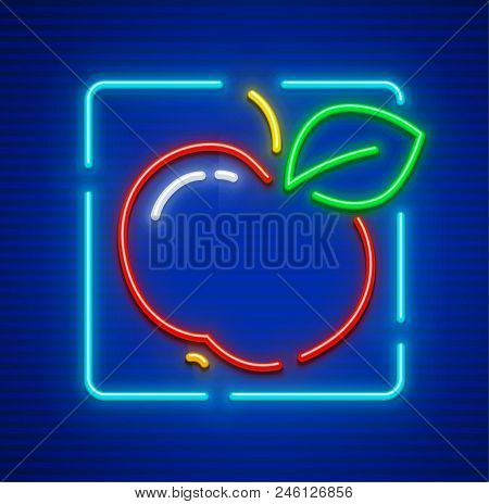 Red Apple Ripe Fruit With Green Leaf Neon Icon. Eps10 Vector Illustration.