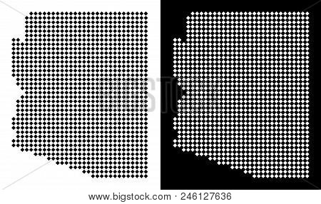 Vector Rhombic Dotted Arizona State Map. Abstract Geographic Maps In Black And White Colors On White