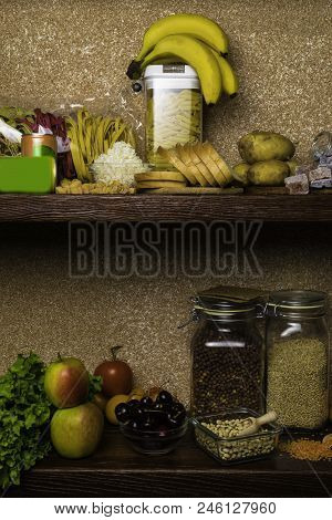 Assortment Of Products Rich Of Complex Carbohydrates. Healthy Food On Stone Background. Space For Te